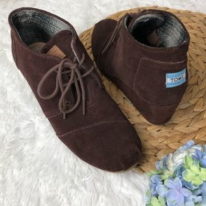 Toms Desert Wedge Lace Up Suede Leather Boots 9